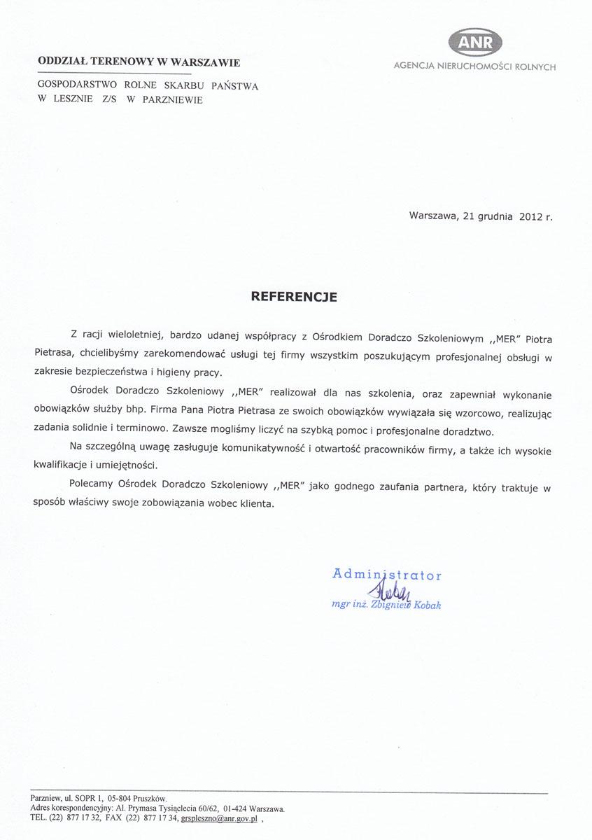 Referencje Agencja Nieruchomości Rolnych