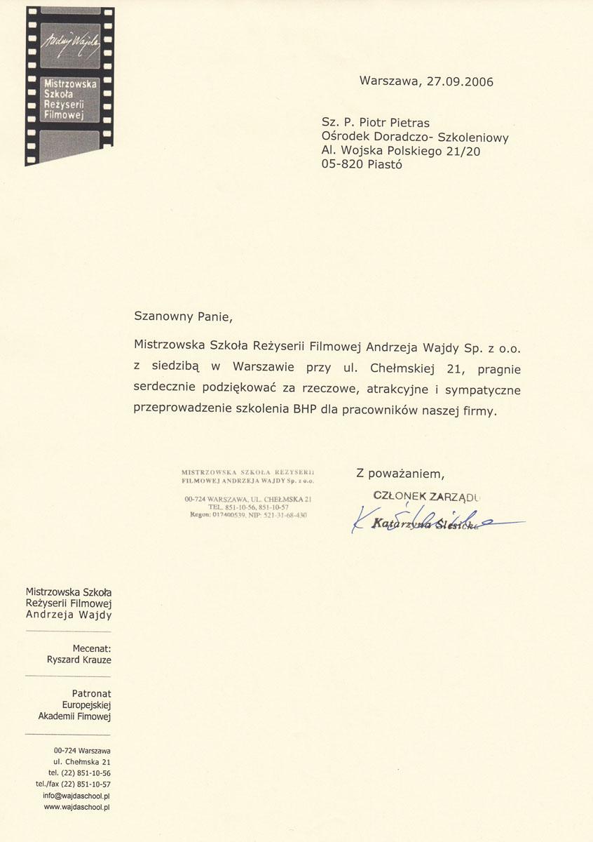 Referencje MSRF Andrzeja Wajdy