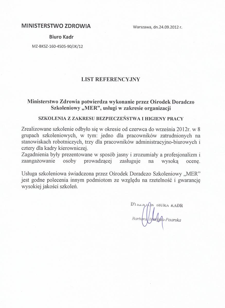 Referencje Ministerstwo Zdrowia